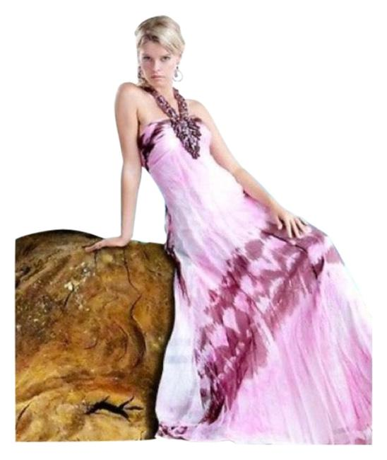 Item - Pink and Brown Watercolor Open Back Beaded Gown Long Formal Dress Size 2 (XS)