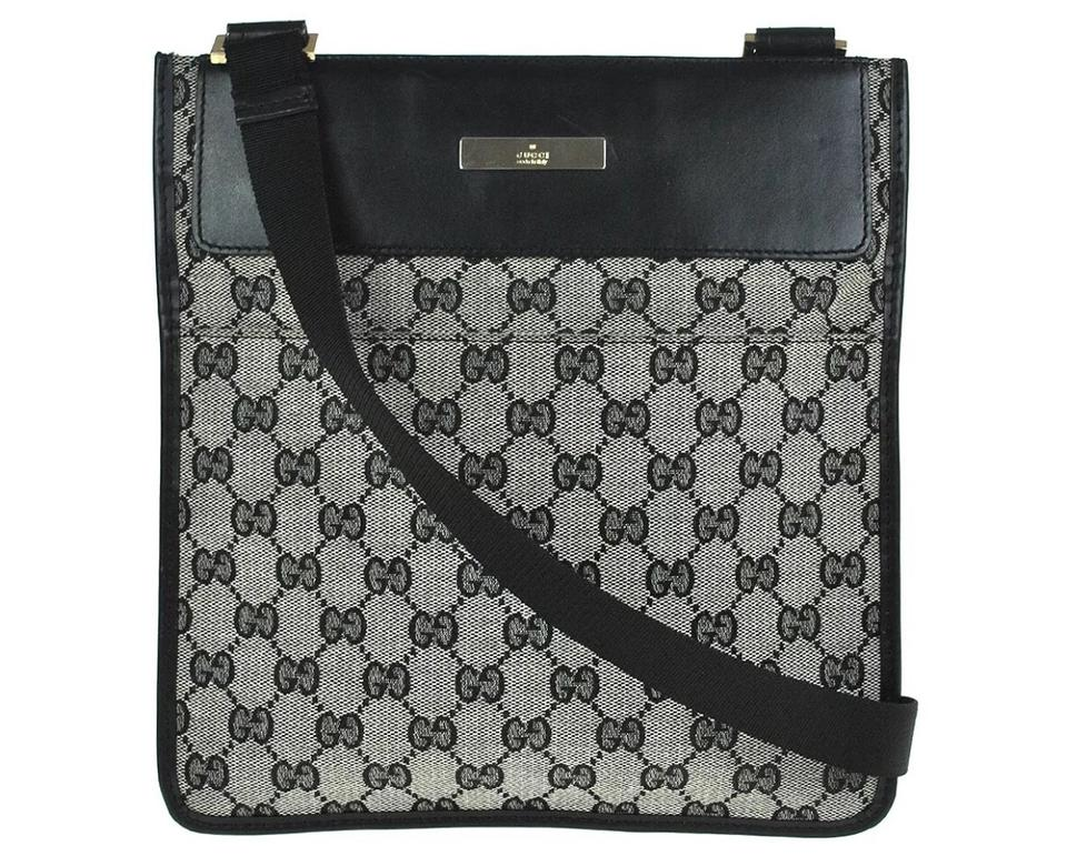 Gucci Crossbody Monogram Grey Black Canvas Messenger Bag 72% off retail