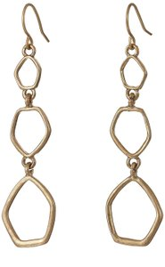 The Sak Metal Hook Back Triple Drop Womens Dangle Earrings