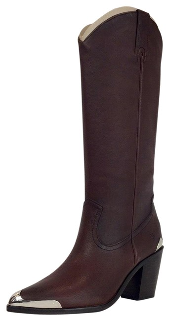 Item - Brown Women's Metal Plate Pull On Western Boots/Booties Size US 8 Regular (M, B)