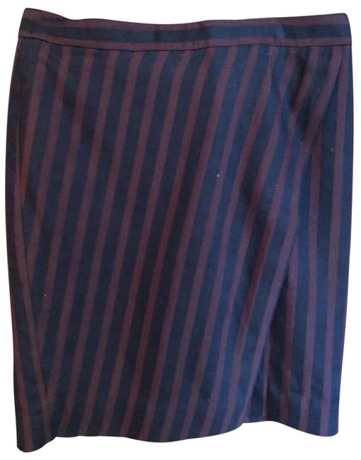 Item - Maroon and Navy Striped Pencil Skirt Size 8 (M, 29, 30)