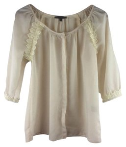 Lucca Couture Women Size M Polyester Women Top Beige White