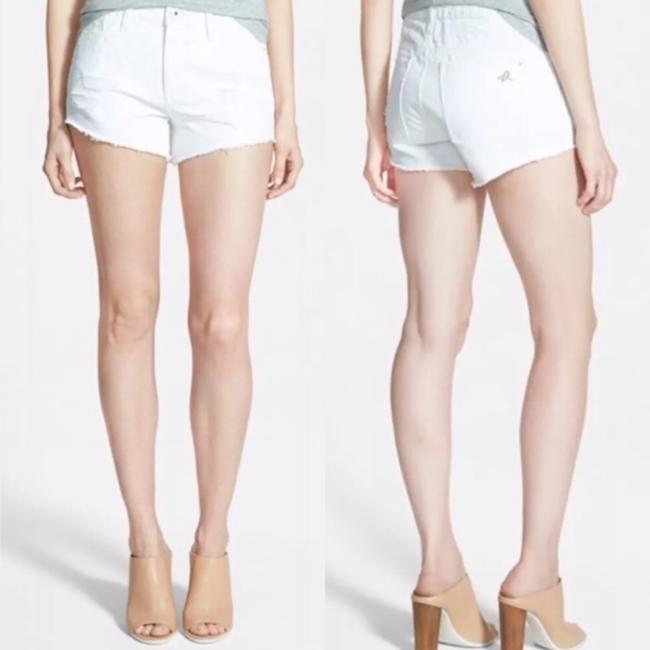 DL1961 High Rise Distressed Frayed Denim Cut Off Shorts White Image 1
