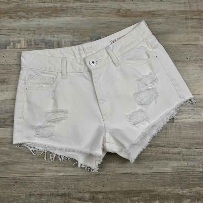 DL1961 High Rise Distressed Frayed Denim Cut Off Shorts White Image 2