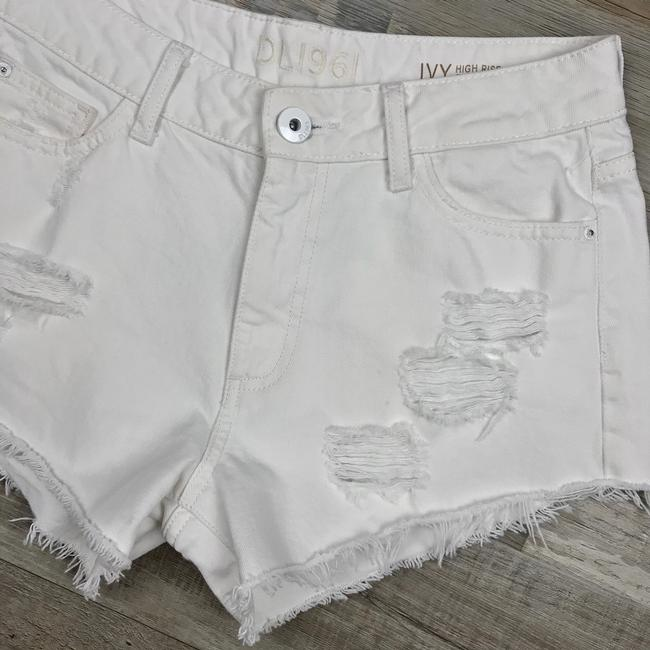 DL1961 High Rise Distressed Frayed Denim Cut Off Shorts White Image 3