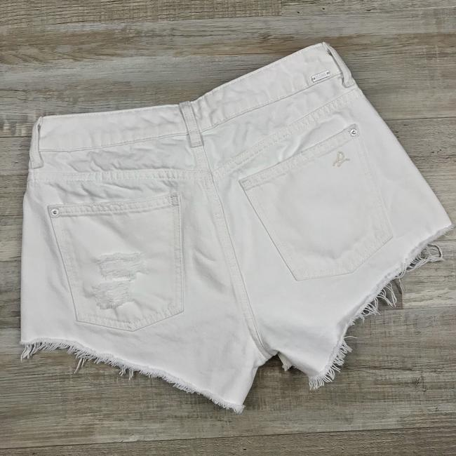 DL1961 High Rise Distressed Frayed Denim Cut Off Shorts White Image 7