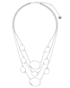 The Sak Silver Metal CZ Pave Link Multi Row Womens Collar Necklace