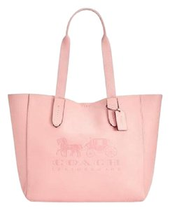 Coach Embossed Horse Carriage Tote in Peony/Pink
