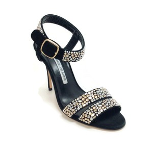Manolo Blahnik Black With Crystals Sandals
