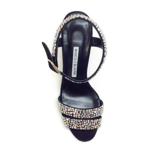 Manolo Blahnik Black With Crystals Sandals Image 3