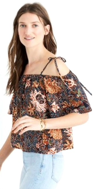 Preload https://img-static.tradesy.com/item/26214362/madewell-brown-xl-floral-silk-cold-shoulder-women-s-blouse-size-16-xl-plus-0x-0-1-650-650.jpg