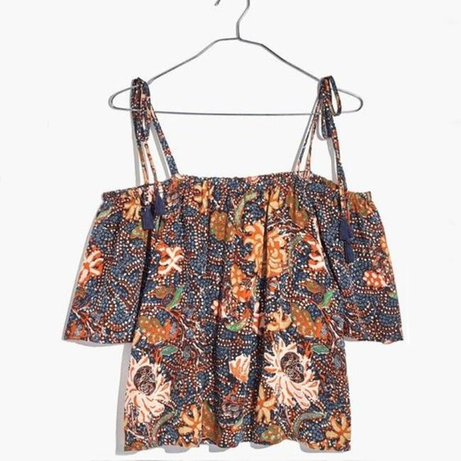 Madewell Silk Xl Cold Shoulder Silk Size Xl Floral Top Brown Image 1
