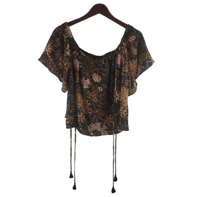 Madewell Silk Xl Cold Shoulder Silk Size Xl Floral Top Brown Image 2