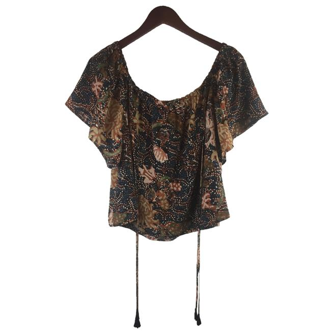 Madewell Silk Xl Cold Shoulder Silk Size Xl Floral Top Brown Image 3