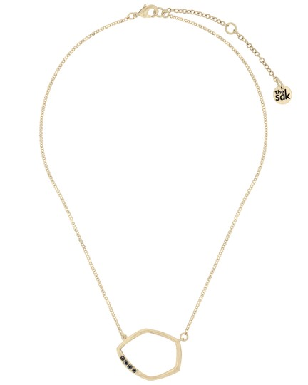 The Sak Gold Metal CZ Pave Open Link Pendant Womens Collar Necklace Image 1