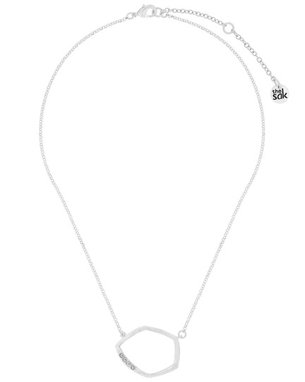 The Sak Silver Metal CZ Pave Open Link Pendant Womens Collar Necklace Image 1