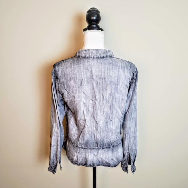 Anthropologie Buttons Longsleeve Collar Button Down Shirt Gray, Chambray Image 2