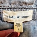 Anthropologie Buttons Longsleeve Collar Button Down Shirt Gray, Chambray Image 3