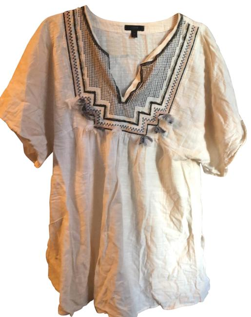 Item - White Embroidered with Tassels Cover-up/Sarong Size 8 (M)
