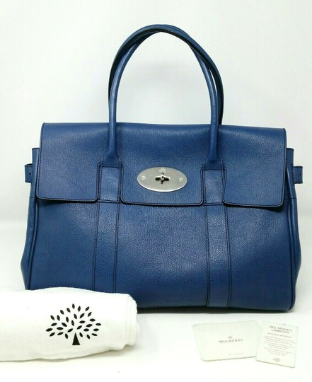 Mulberry Bayswater Leather Large Tote in Dark Blue Image 1
