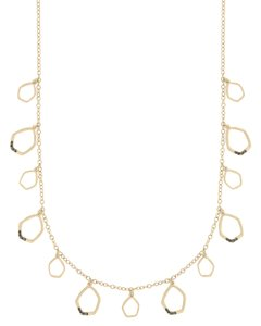 The Sak Gold Metal CZ Pave Shaky Open Links Womens Long Necklace