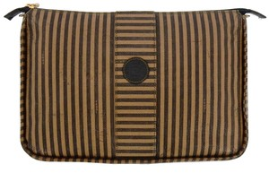 Fendi Vintage Toiletry Pouch 29 Striped Canvas Cosmetics Travel Dopp Bag