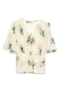 Madewell Silk Floral Silk Floral Floral Print Top Ivory