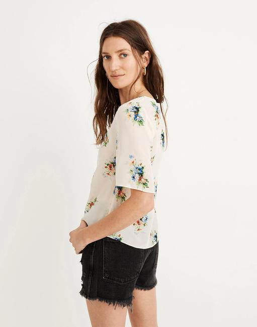 Madewell Silk Floral Silk Floral Floral Print Top Ivory Image 2