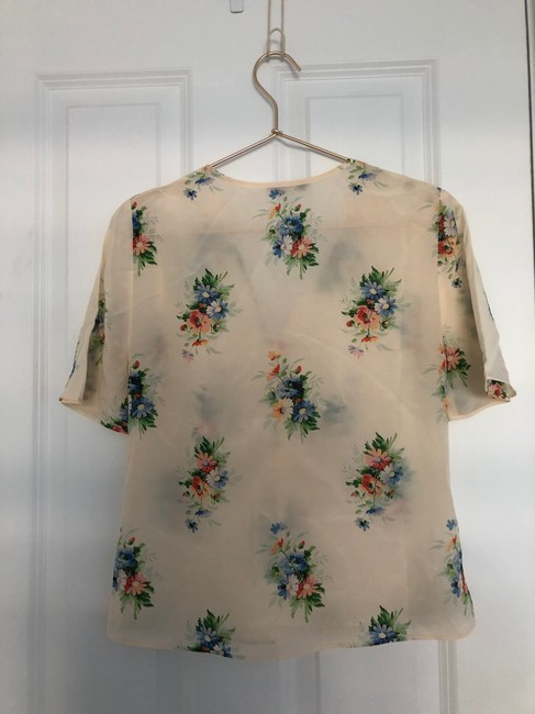 Madewell Silk Floral Silk Floral Floral Print Top Ivory Image 4