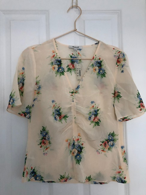 Madewell Silk Floral Silk Floral Floral Print Top Ivory Image 5