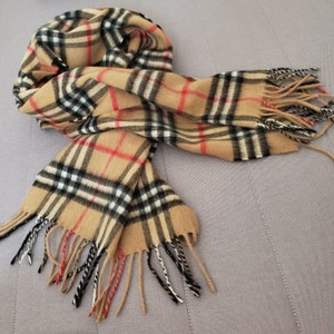 Burberry Burberry Classic House Check 100% Cashmere Long Fringe Scarf women men