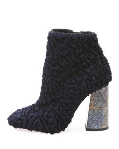 Christian Louboutin Red Bottoms Faux Fur Ankle BLUE Boots