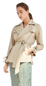 Massimo Dutti Bows Short Lapel Collar Trench Coat