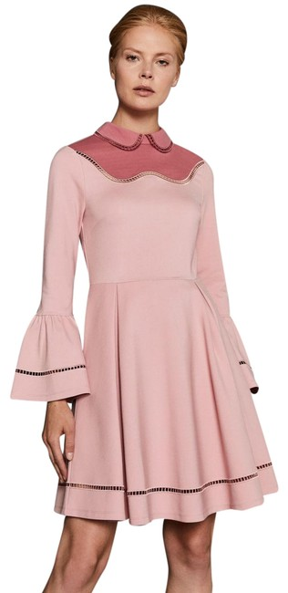 Item - Pink Pippiy Ladder Lace Bell Sleeve Fit N Flare 1 Short Work/Office Dress Size 4 (S)