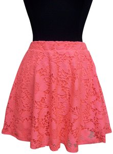 Aéropostale Lace Stretch Pleated Flare Mini Mini Skirt Pink