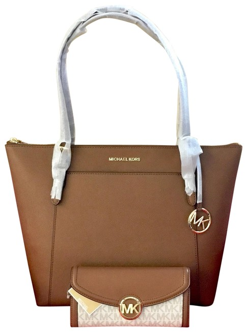 Item - Fulton A Set Of Ciara Luggage & Wallet Brown and White Leather Tote