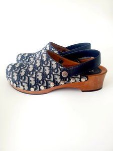 Dior Monogram Canvas Leather Two-tone Blue Mules