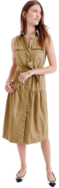 Item - Tan Military Inspired Belted Mid-length Casual Maxi Dress Size 6 (S)