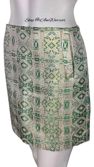 Item - Gold Silver Green Beige Metallic Jacquard Skirt Size 4 (S, 27)