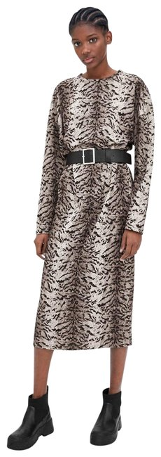 Item - Gray/Black Belted Tiger Print Long Sleeve New Mid-length Work/Office Dress Size 10 (M)