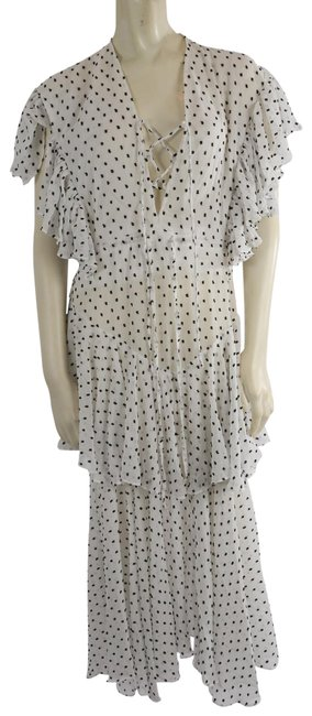 Item - White Polka Tiered Long Casual Maxi Dress Size 8 (M)