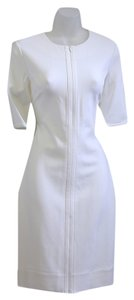 Diane Von Furstenberg short dress White Crew Neck Front Zip on Tradesy
