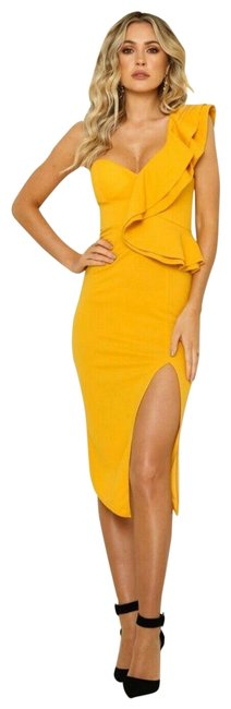 Item - Yellow Caruso Midi Nwot Mid-length Cocktail Dress Size 12 (L)