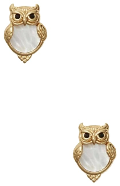 Item - Cream Gold W Into The Wood Owl Studs Stud Dust Bag Earrings