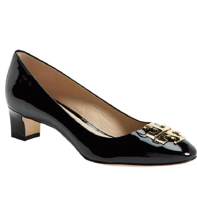 Tory Burch Black/ Gold 8.5m ' Raleigh ' 40mm Patent Leather Pumps Size US 8.5 Regular (M, B) Tory Burch Black/ Gold 8.5m ' Raleigh ' 40mm Patent Leather Pumps Size US 8.5 Regular (M, B) Image 1