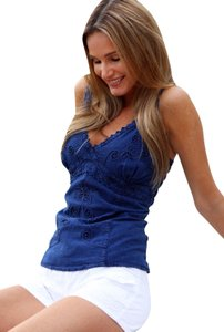 Lirome Embroidered Sexy Vintage Western Fashion Top Royal Blue