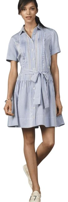 Item - Blue Stripe W Broome Street Ruffle W/Belt Mid-length Short Casual Dress Size 8 (M)