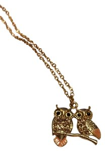 Paloma & Ellie NWT Goldtone Double Crystal Owl Necklace