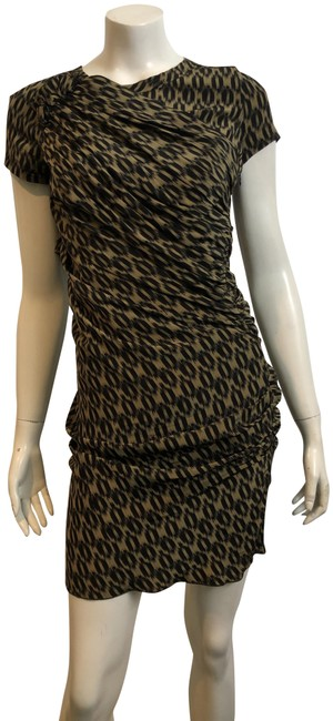 Item - Brown Etoile 361019 Ruched Leopard Silk Print Short Cocktail Dress Size 0 (XS)