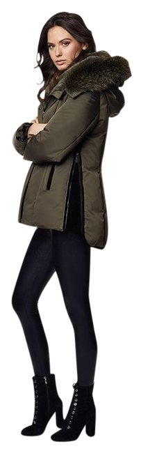 Item - Kalamata Olive Luka Fitted Parka with Velvet and Fur Trim Coat Size 4 (S)